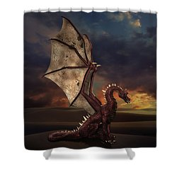 Dragon At Sunset Shower Curtain