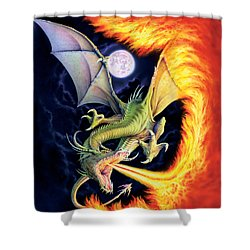 Dragon Fire Shower Curtain by The Dragon Chronicles