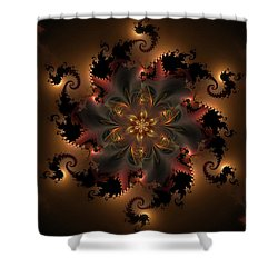 Dragon Flower Shower Curtain by GJ Blackman