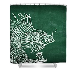 Dragon On Chalkboard Shower Curtain by Setsiri Silapasuwanchai