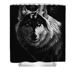 Shower Curtain featuring the painting Dragon Wolf by Stanley Morrison