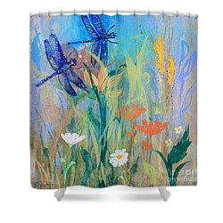 Dragonflies In Wild Garden Shower Curtain