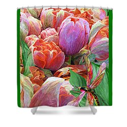 Shower Curtain featuring the mixed media Dragonfly And Tulips 2 by Carol Cavalaris