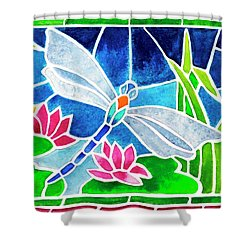Dragonfly And Water Lilies In Stained Glass 2 Shower Curtain by Janis Grau