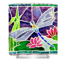 Dragonfly And Water Lily In Stained Glass Shower Curtain by Janis Grau