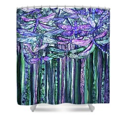 Shower Curtain featuring the mixed media Dragonfly Bloomies 1 - Lavender Teal by Carol Cavalaris