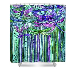 Shower Curtain featuring the mixed media Dragonfly Bloomies 1 - Purple by Carol Cavalaris