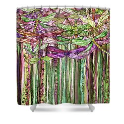 Shower Curtain featuring the mixed media Dragonfly Bloomies 1 - Pink by Carol Cavalaris