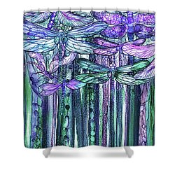 Shower Curtain featuring the mixed media Dragonfly Bloomies 2 - Lavender Teal by Carol Cavalaris