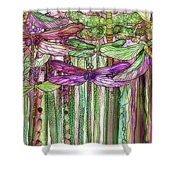 Shower Curtain featuring the mixed media Dragonfly Bloomies 2 - Pink by Carol Cavalaris