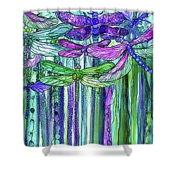 Shower Curtain featuring the mixed media Dragonfly Bloomies 2 - Purple by Carol Cavalaris