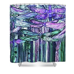 Shower Curtain featuring the mixed media Dragonfly Bloomies 3 - Lavender Teal by Carol Cavalaris