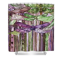 Shower Curtain featuring the mixed media Dragonfly Bloomies 3 - Pink by Carol Cavalaris