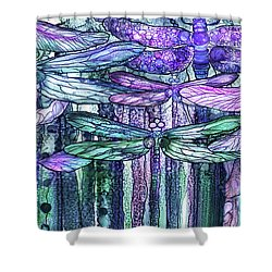 Shower Curtain featuring the mixed media Dragonfly Bloomies 4 - Lavender Teal by Carol Cavalaris