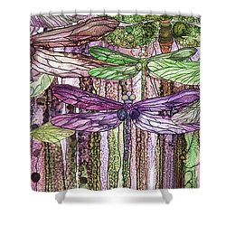 Shower Curtain featuring the mixed media Dragonfly Bloomies 4 - Pink by Carol Cavalaris