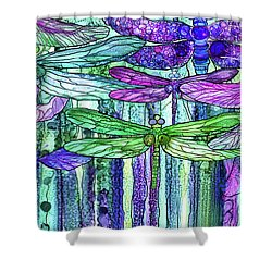Shower Curtain featuring the mixed media Dragonfly Bloomies 4 - Purple by Carol Cavalaris