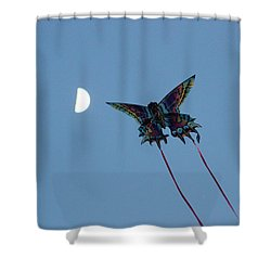 Shower Curtain featuring the photograph Dragonfly Chasing The Moon by Robert Banach