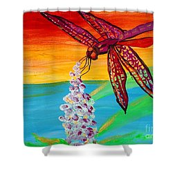 Dragonfly Ecstatic Shower Curtain