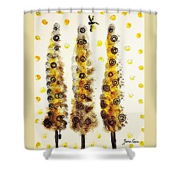 Dragonfly Flying Through The Yellow  Forest By Jasna Gopic Shower Curtain