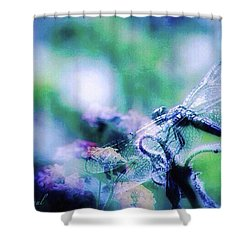 Dragonfly On Lantana-blue Shower Curtain