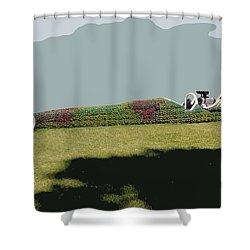 Shower Curtain featuring the photograph Dragster Flower Bed by Bill Thomson