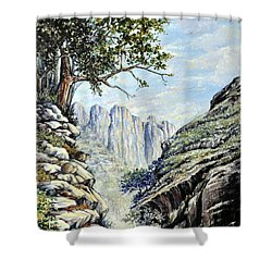 Shower Curtain featuring the painting Drakensberg by Heidi Kriel