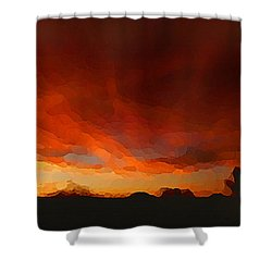 Shower Curtain featuring the digital art Drama At Sunrise by Shelli Fitzpatrick