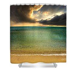 Drama At The Beach Shower Curtain by Meirion Matthias