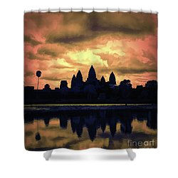 Dramatic Angkor Wat  Shower Curtain