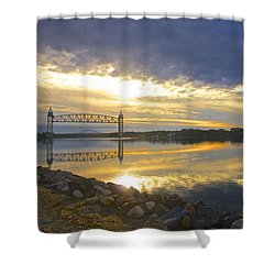 Dramatic Cape Cod Canal Sunrise Shower Curtain by Amazing Jules