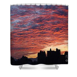 Shower Curtain featuring the photograph Dramatic City Sunrise by Yali Shi