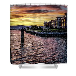 Dramatic Hudson River Sunset Shower Curtain by Jeffrey Friedkin