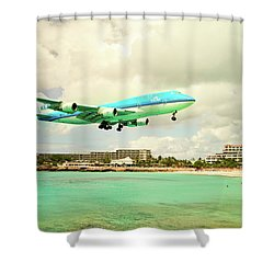 Dramatic Landing At St Maarten Shower Curtain