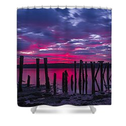 Dramatic Maine Sunrise Shower Curtain by John Vose