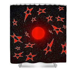 Shower Curtain featuring the mixed media Dramatic Radiation  by Will Borden