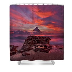 Dramatic Sunrise Over Coral Cove Beach In Jupiter Florida Shower Curtain