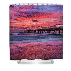 Dramatic Sunrise Over Juno Beach Pier, Florida Shower Curtain