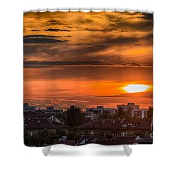 Dramatic Sunset Over Sofia Shower Curtain