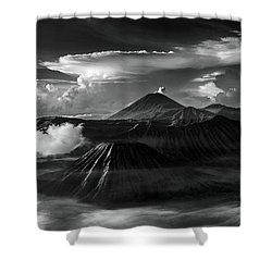 Dramatic View Of Mount Bromo Shower Curtain
