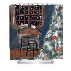 Drawing Board At Christmas Shower Curtain by Jean Pacheco Ravinski