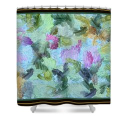 Shower Curtain featuring the mixed media Dream Bigger by Trish Tritz