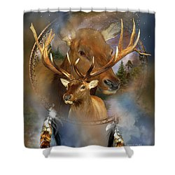 Dream Catcher - Spirit Of The Elk Shower Curtain by Carol Cavalaris