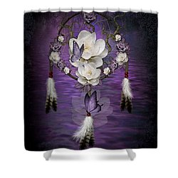 Dream Catcher Purple Flowers Shower Curtain