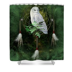Dream Catcher White Owl Shower Curtain
