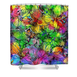 Shower Curtain featuring the digital art Dream Colored Leaves by Klara Acel