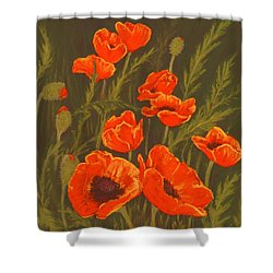 Shower Curtain featuring the painting Dream Of Poppies by Anastasiya Malakhova