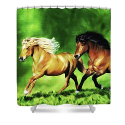 Shower Curtain featuring the painting Dream Team by Shari Nees