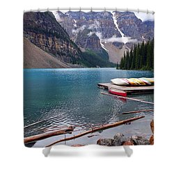 Moraine Lake, Ab  Shower Curtain by Heather Vopni