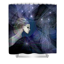 Shower Curtain featuring the digital art 1101 - Dream Voyage - 2017 by Irmgard Schoendorf Welch