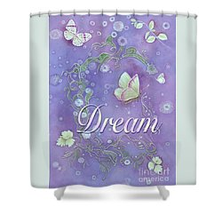 Shower Curtain featuring the painting Dream With Periwinkle Butterfly Scrolls by Nancy Lee Moran